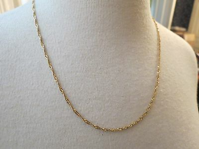 "14k Yellow Gold Necklace Italy Serpentine Chain Twist Rope 3.45g 20"" Long NICE"