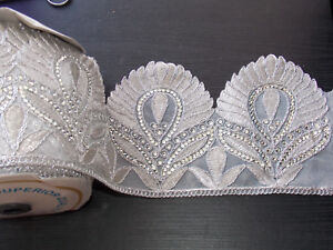 1m ivory gold crystal indian arabic paisley braid beaded lace bridal wedding