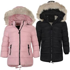 ee6566737bff Girls Long Down Quilted Winter Jacket Kids Detach Hood Zip Parka ...