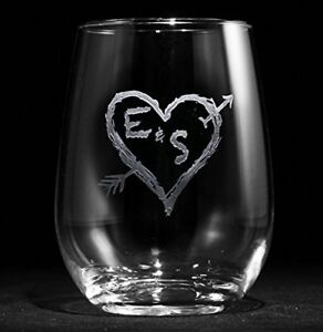 Engraved Stemless Wine Gles Etched
