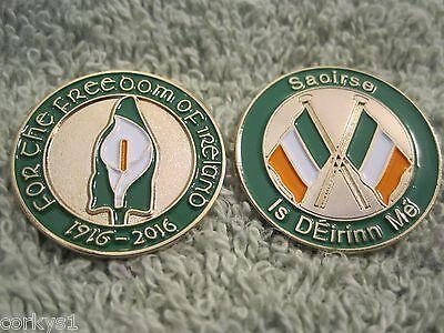 "Easter Lily Irish Pin /""Freedom Of Ireland/"" 1916-2016 Anniversary Badge AOH"