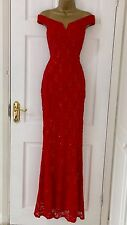 Womens £65 EX QUIZ Red Lace Sequin Bardot Fishtail Maxi Evening Dress 8 - 18