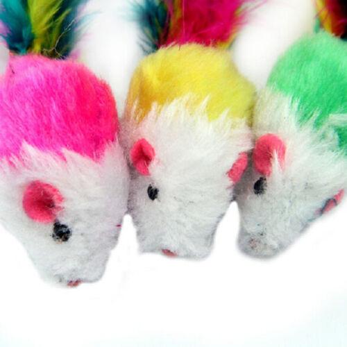 1//5//10x Soft Fleece False Mouse Cat Toys Colorful Feather Playing  5 cm*3cm LPCC
