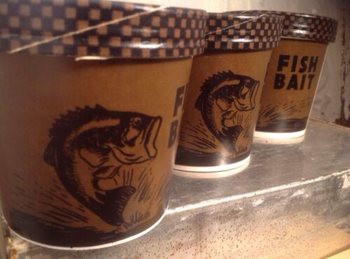 Vintage Fishing Fish Live Bait Box Cardboard Worm Sealright Container NOS lot 3