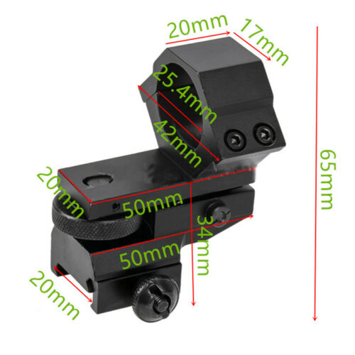 25.4mm Ring Tactical Laser Sight Flashlight Rifle Scope Low Mount For 20mm Rail