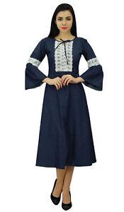 Bimba-Women-039-s-Navy-Blue-Retro-Style-Denim-Dress-Mid-Calf-Boho-Dress-With-Lace-De