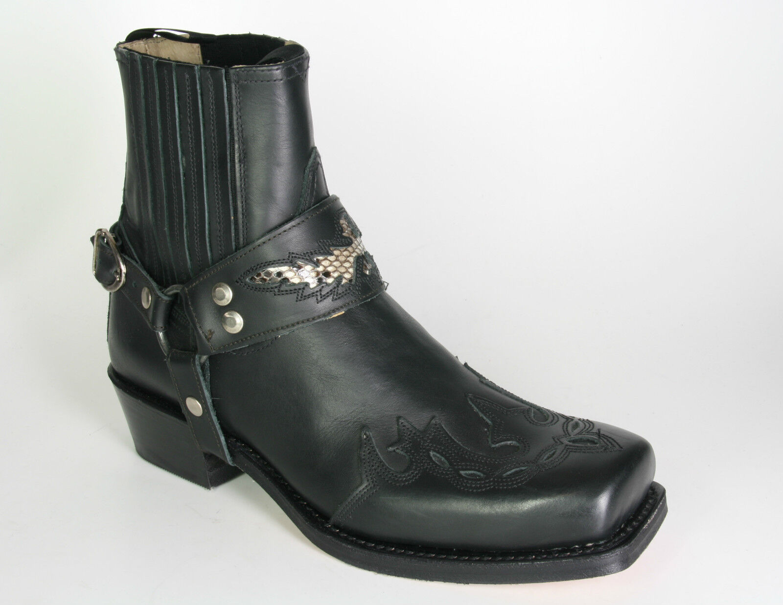 7811 sendra Bottes Motard strong Monténégro flamme Bottines Noir
