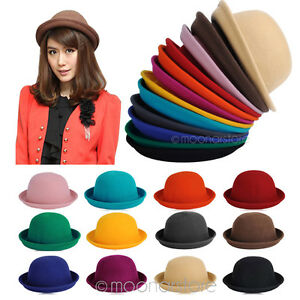 d4b8ff40 Image is loading Fashion-Vintage-Trendy-Cute-Ladies-Women-Wool-Felt-
