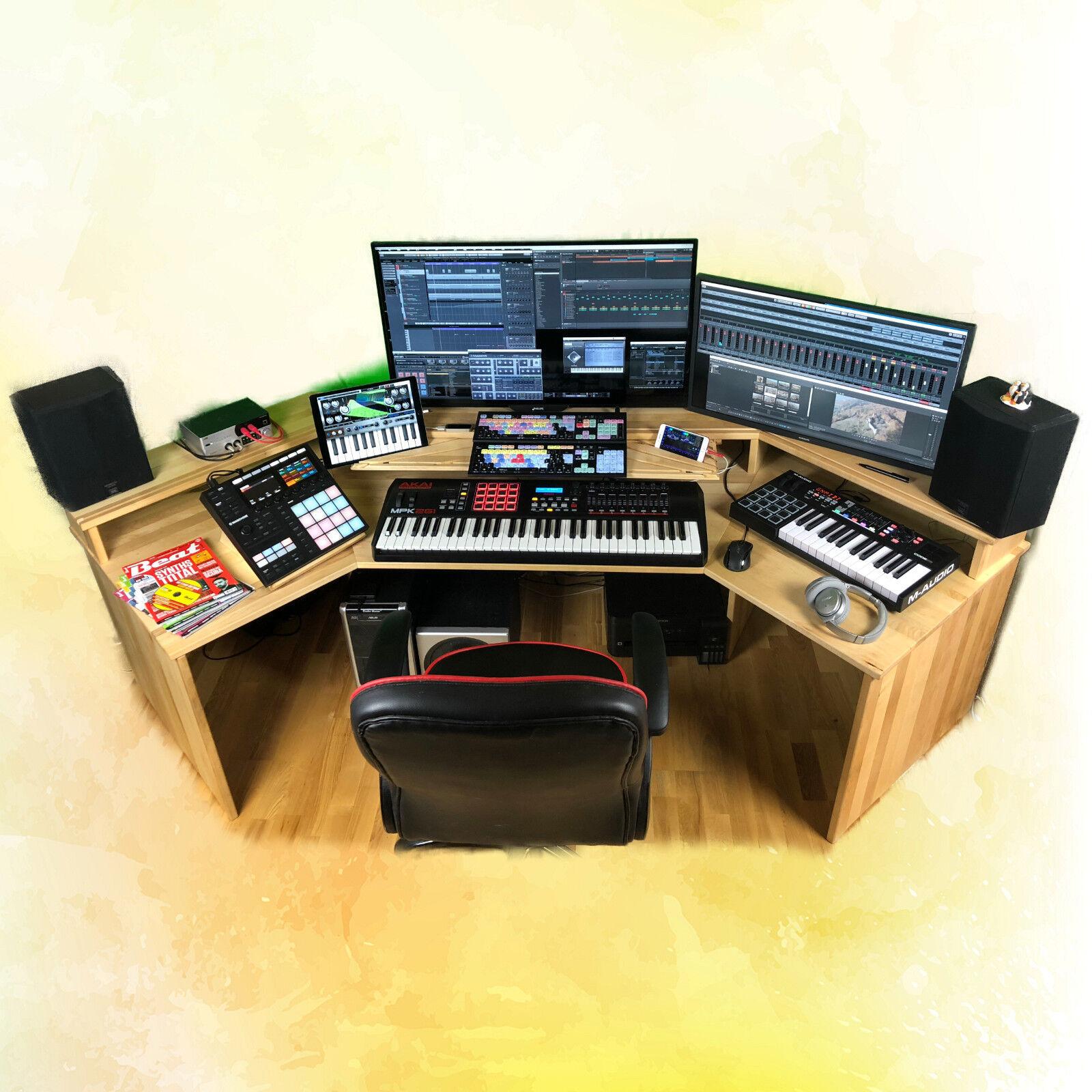 Workstation Studio Tavolo Studio per l'home studio o ufficio in legno massiccio NUOVO