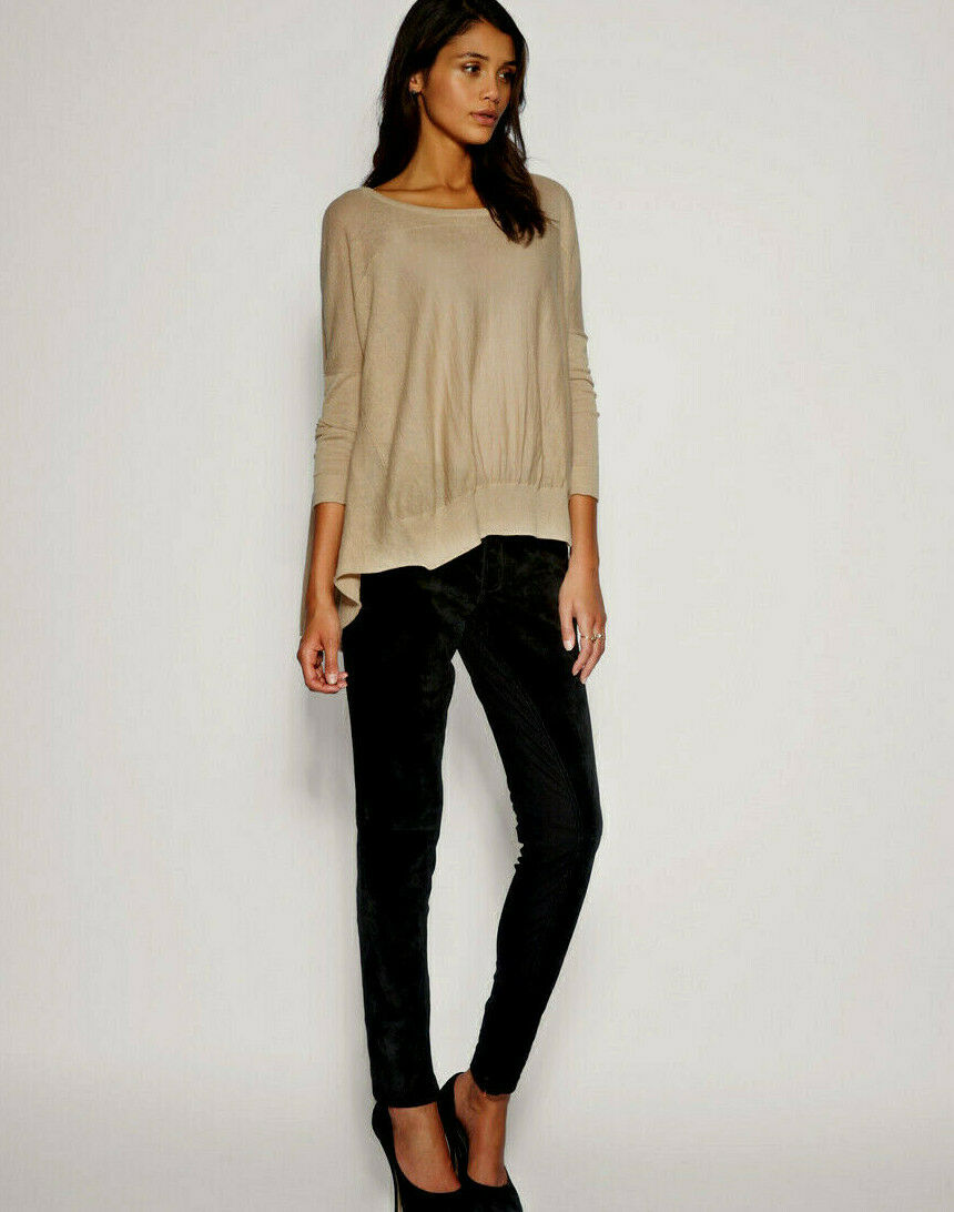 NWT  Designer SELECTED Femme Genuine Suede LEATHER & Ponte PANTS UK 6 8 10