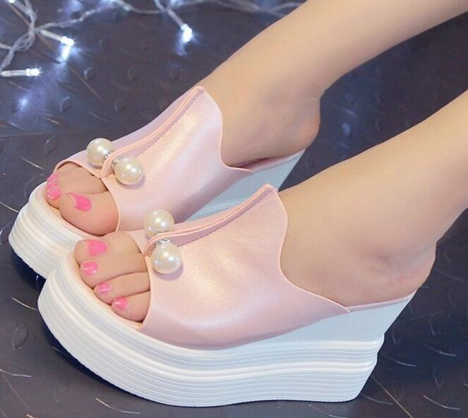 Fashion Damens High Heel Sandales Pearls Slippers Wedge Open Toe Platform Schuhes