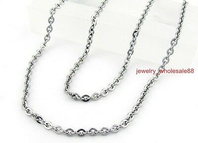 5pcs/Lot More Size Joint Cross Oval Link Chain Necklace Stainless steel in bulk