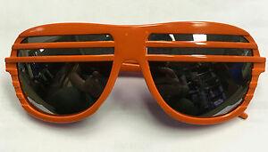 81b0d277be Orange Frame Half Shutter Shades Retro 80s Aviator Style Sunglasses ...