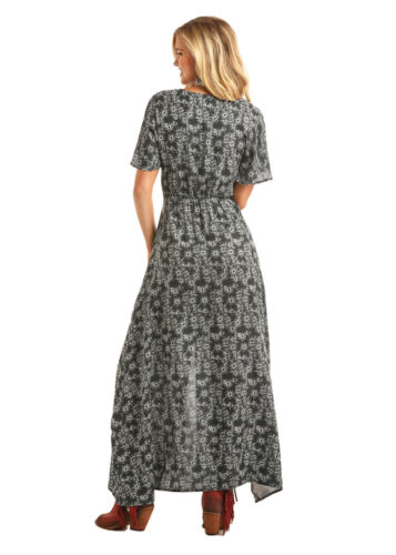 Rock /& Roll Cowgirl Juniors Black /& White Floral Maxi Dress D5-1444