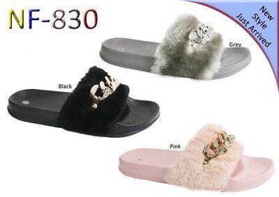 Womens Slip On Size Flat Farrah Rubber Slider Mules Fur Slipper Rihanna Sandals