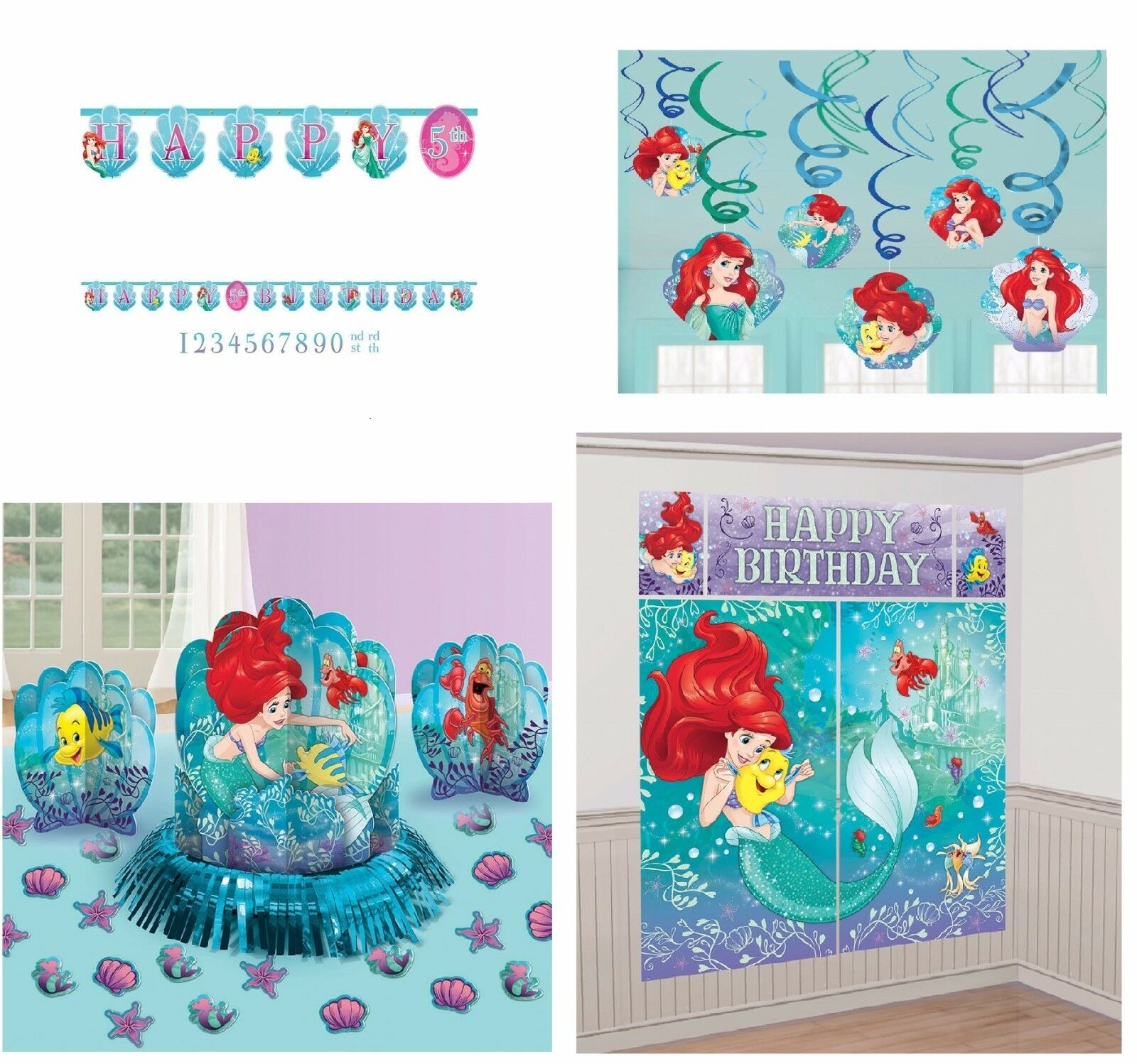 Click On Thumbnails To Magnify Disney Little Mermaid Birthday Pack Party Supplies