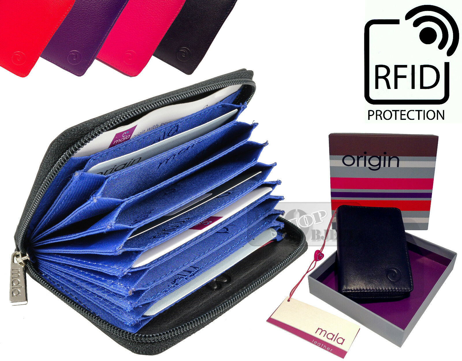 Mala RFID Secure Quality Real Leather Credit Card Purse Wallet Zip 10 Fan Case