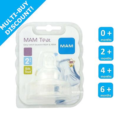 MAM Size 2 Medium Flow Teats2 months+Silk TeatBPA Free