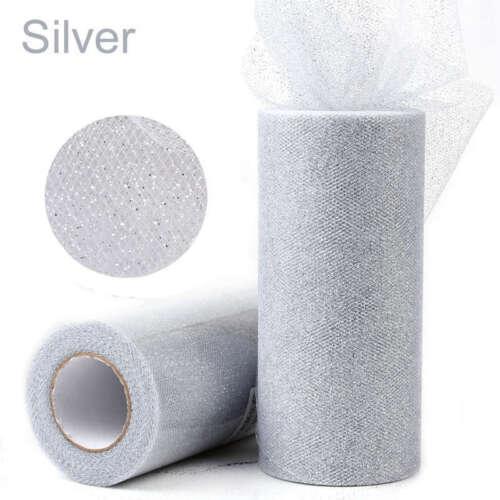 "6/"" 25YD Glitter Tulle Roll Spool Tutu Wedding Party Gift Wrap Fabric Craft Decor"