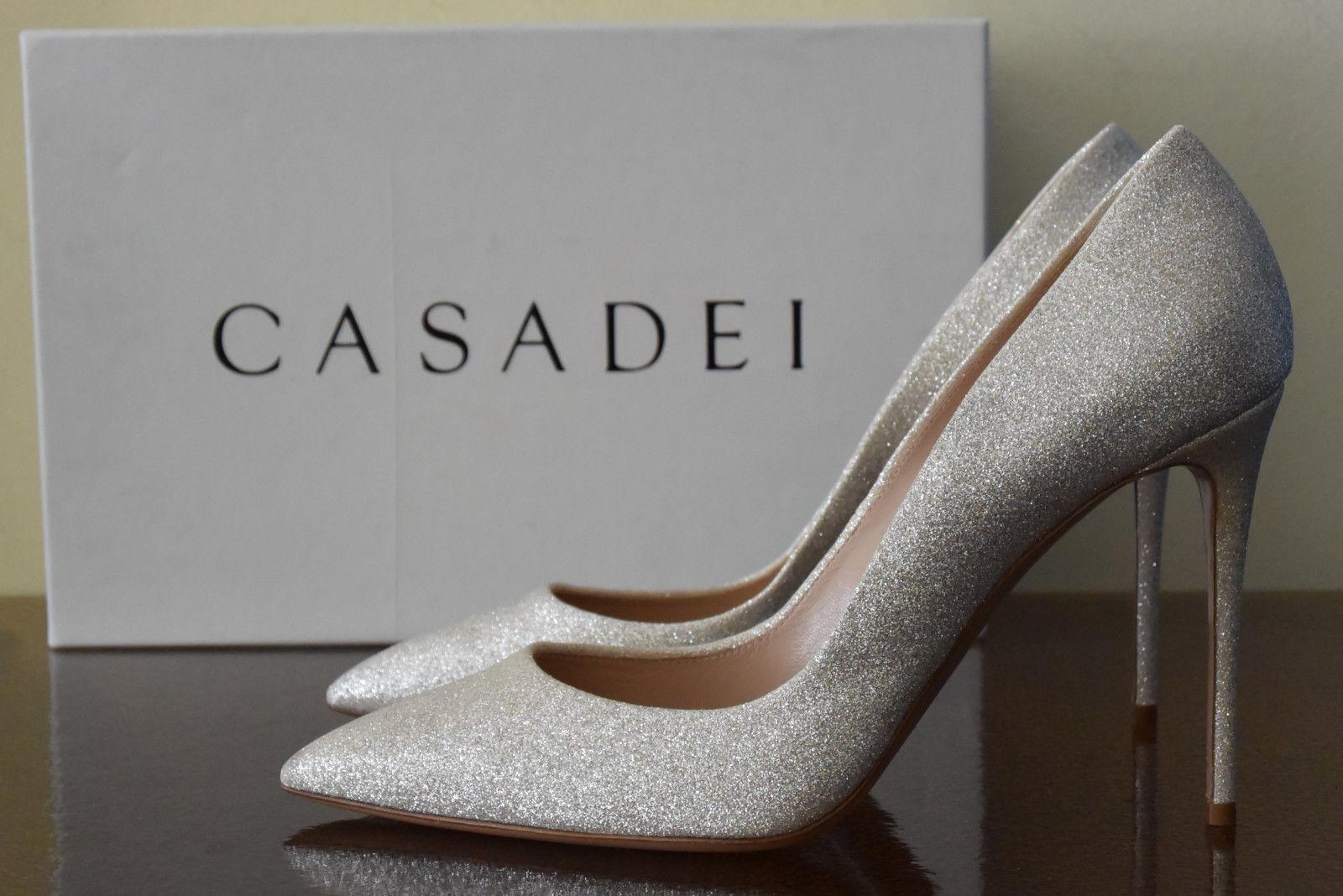 marchio in liquidazione Casadei Casadei Casadei HOLLYWOOD High Heels Platino Sz 9.5 (39.5)  nelle promozioni dello stadio