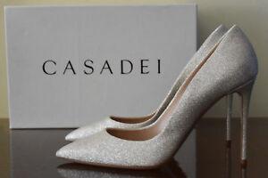 Image is loading Casadei-HOLLYWOOD-High-Heels-Platino-Sz-9-5- 1f8017722f7