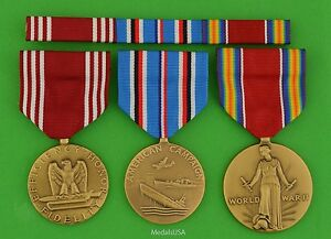 3-WWII-Army-Medals-amp-Ribbons-Good-Conduct-American-Theater-WW2-Victory