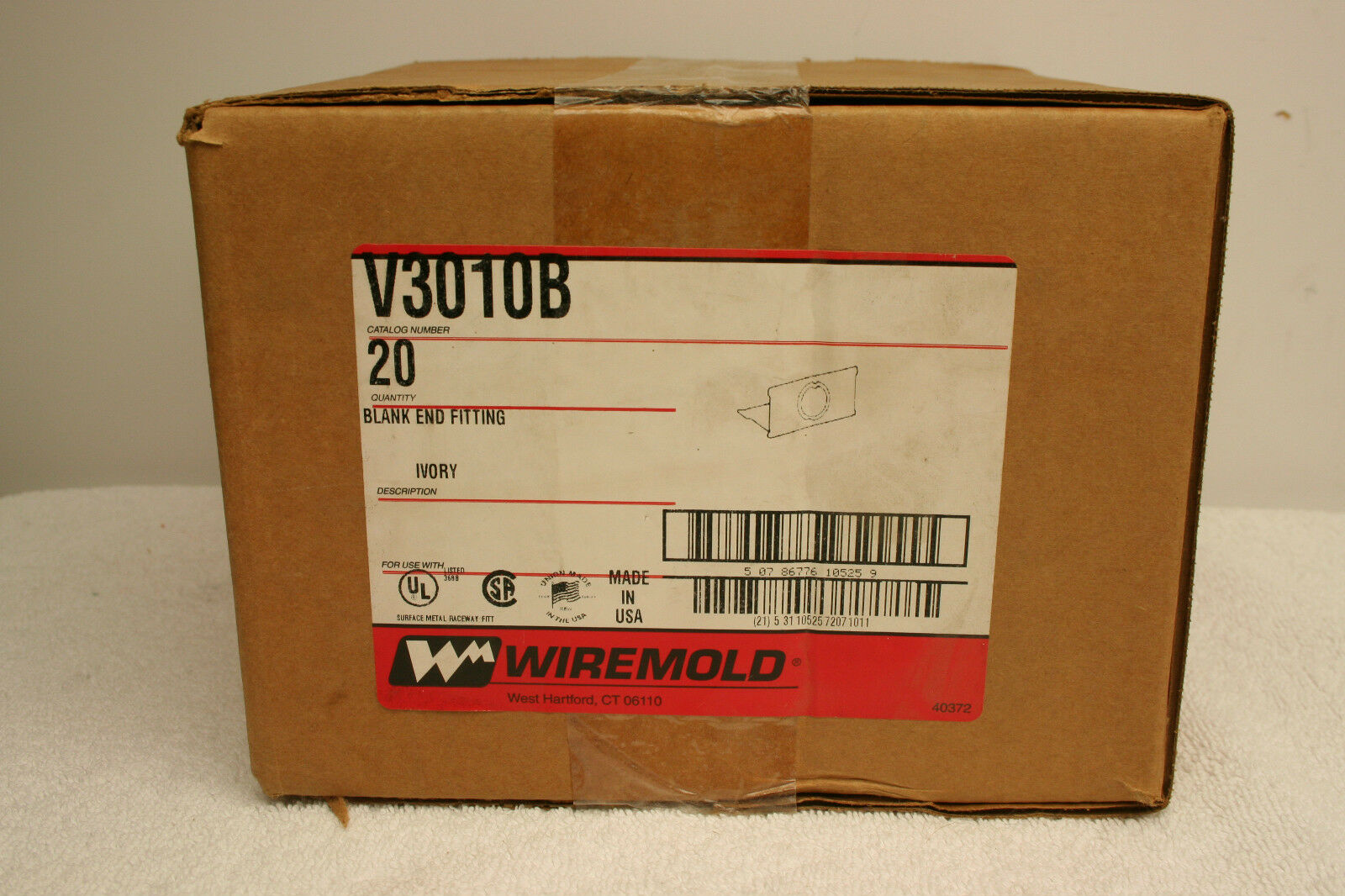 Wiremold V3010B Bland End Fitting SEALED Box of 20