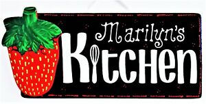 Personalize Strawberry Kitchen Sign Wall Hanger Name Plaque Strawberries Decor Ebay