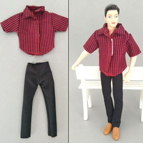 1:6 Boy Doll Clothes Plaided Shirt /& Black Pants Trousers For Ken Doll Kids Toy