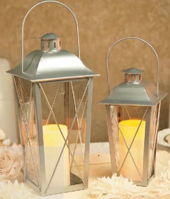 2 WHITE Railroad Hanging Votive Candle Lantern Set NEW