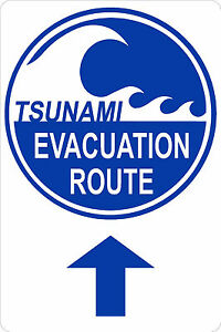 TSUNAMI-EVACUATION-ROUTE-with-UP-Arrow-12x18-Aluminum-Sign