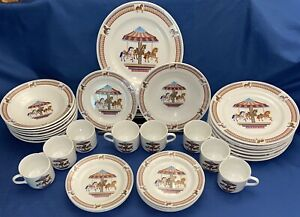 Tabletops-Unlimited-Carousel-Horses-Complete-Set-32-Dinner-Salad-Plates-Bowl-Cup