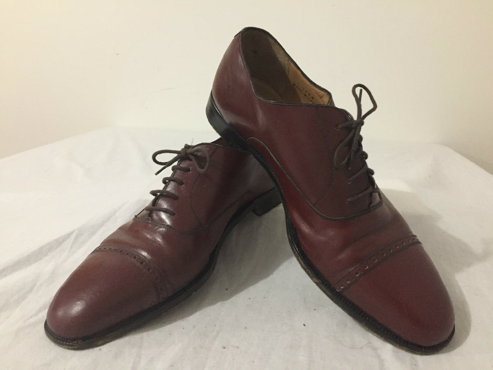 BALLY 'Stefan' Cap Toe Oxford Quarter Brogues shoes Brown Leather Size 10.5D