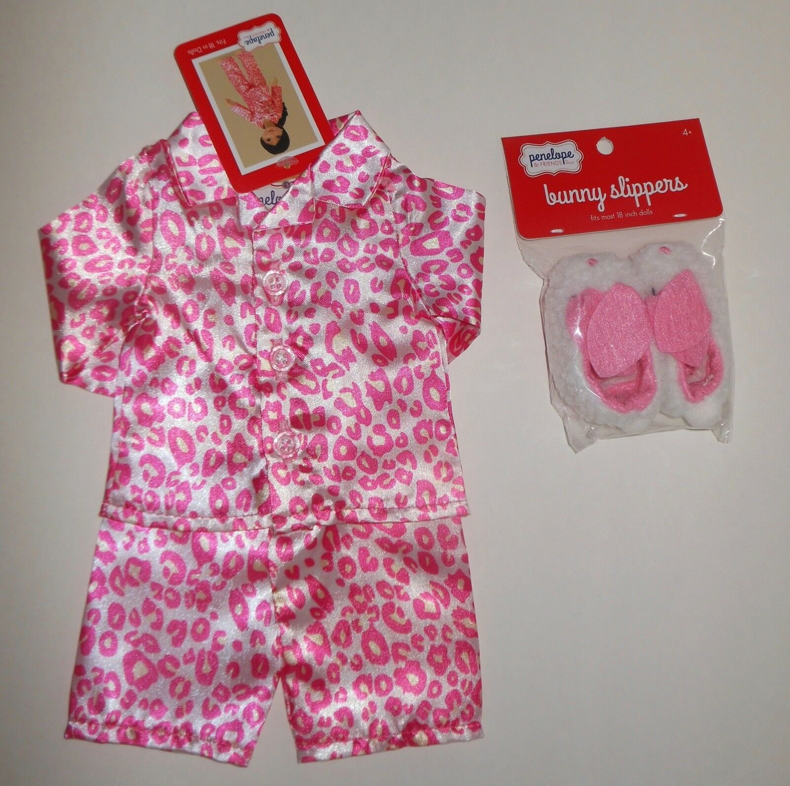 New 18  Outfit Lot  Fits American Dolls  Pink Pajamas & Slippers