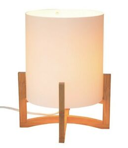 White cylinder table lamp quad wood legs 7437157652630 ebay image is loading white cylinder table lamp quad wood legs mozeypictures Image collections