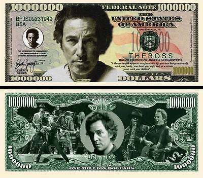 Bruce Springsteen Million Dollar Bill Fake Funny Money Novelty Note +FREE  SLEEVE | eBay