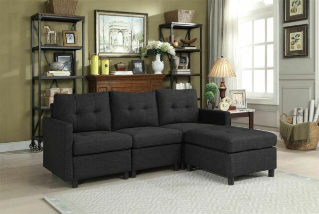 Living Room Furniture Blue Fabric 2pcs Sectional Modern Reversible ...