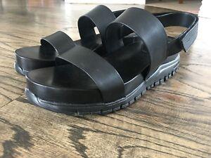 b8c26d5471c Image is loading Cole-Haan-ZEROGRAND-Black-Leather-Platform-Sandals-Women-