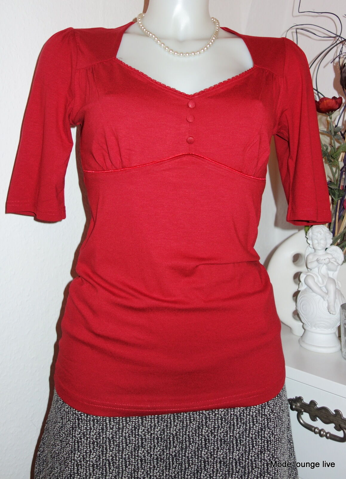 Vive Maria HOLIDAY IN SHIRT SHIRT SHIRT rosso pizzo camicetta BOTTONI M 38 BASE 30767 9dc88d