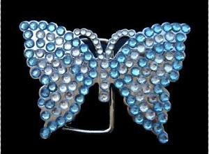 White Blue Rhinestone Flying Monarch Butterfly Butterflies Belt Buckle