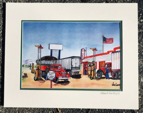 Truck Stop Art Print Personalized Diner Cafe Tractor Trailer trucker Gift Ford