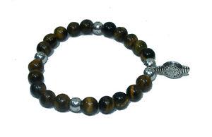 Bracelet de perles OEIL DE TIGRE Bouddha Pierres naturelles 8 mm 19cm/sur mesure