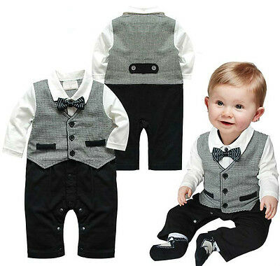 1pc NWT Boy Baby Kids Toddler Bowknot Gentleman Romper Jumpsuit Clothes Outfit