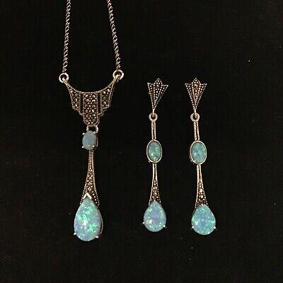 October Libra Sterling Silver Marcasite /& Blue Opalique Opal Pendant Necklace