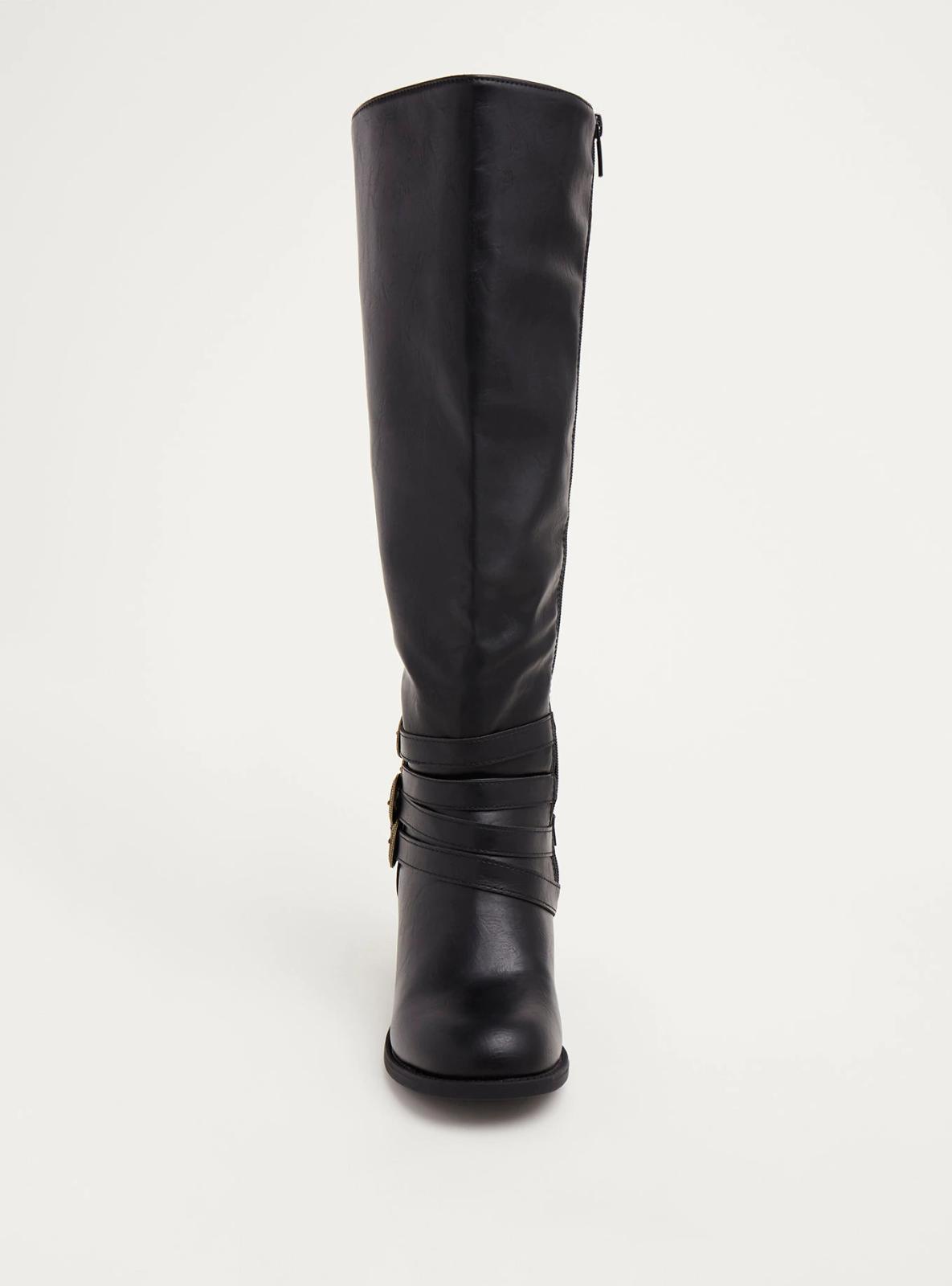 Torrid Multi Buckle Western Height Knee Height Western Stiefel Wide Width Wide Calf Sz 8 #93324 aab3ed