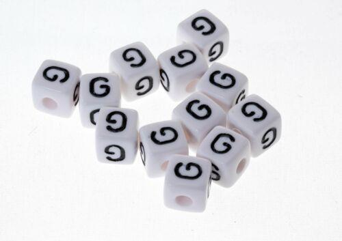 Perle Blanche Acrylique Lettre Alphabet 10mm x 20 pièces Creation bijoux