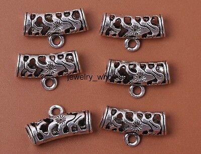 10pcs Tibetan Silver Hollow Connectors Bail Beads Pendant Fit Necklace 21mm 3024