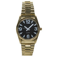 Men's Gold Tone Low Vision Watch Black Face