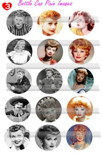 I Love Lucy Lucille Ball Old Hollywood Actress 15-150 Precut Bottle Cap Images
