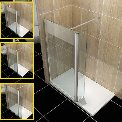 Walk in Shower Enclosure Wet Rroom Shower Screen Panel with 300mm Flipper Panel